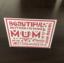 Handmade Card for Mom, Layered Paper, Quote, Red Color, Free Shipping