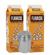 2 Pack Flavacol Seasoning Popcorn Salt 2045 with Stainless Steel Shaker