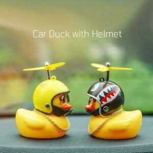 Car Dashboard Decoration Toys Yellow Duck With Helmet And Chain Doll H6N0