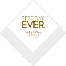 500 Best Day Ever Block Personalized Printed Wedding Cocktail Napkins