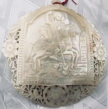 JERUSALEM - St.George & The Dragon ANTIQUE MOP PILGRIM PLAQUE ERETZ ISRAEL