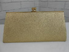Vintage 1960s Ladies Sparkly Metallic Gold Retro Evening Clutch Hand Bag & Purse