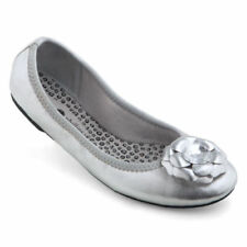 NEW Lindsay Phillips Liz bright Silver ballet flat size 7 snap shoes pretty NWT