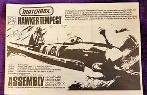 MATCHBOX 1:72 HAWKER TEMPEST Fighter-Bomber Model Kit PK-23 NO BOX, KIT COMPLETE