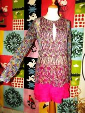 ANTIK BATIK TUNIQUE SOIE OLENE  BLOUSE LIBERTY PLASTRON  PLIS 38