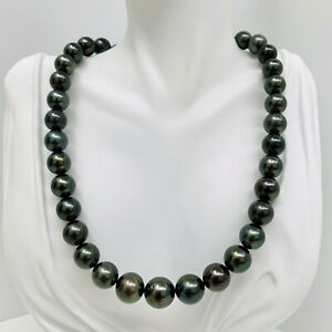 """Authentic Tahitian Pearl Necklace Loose Strand Round 11-13mm Dark Green 16"""" AAA"""