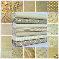 favourite Beige florals spots & stripes 100% cotton fabric & FQ BUNDLE FREE P&P