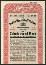 More details for germany: bremen free state, 1000 mark bond, 1922