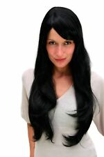 Peluca de Mujer Damas Negro Muy Largo Flequillo con Raya Liso 70cm 3111-1B