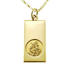 """9CT GOLD ST SAINT CHRISTOPHER PENDANT CHAIN NECKLACE WITH 18"""" CHAIN"""