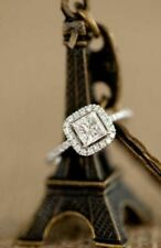 Engagement Ring in 14k White Gold Over 2.00 ct White Princess Cut Diamond Halo