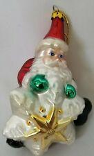 BK Hand Blown Glass Santa Claus Snowflake Christmas Ornament Vintage 1999