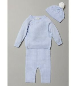 Baby boys spanish style cable knitted 3 piece set blue 0-3 3-6 6-9 months