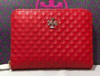 New Authentic Tory Burch Marion Embossed Leather Zip Key Coin Wallet  Red+Box