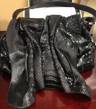 Carlos Falchi Black Python & Alligator Purse W/Blue Suede Interior