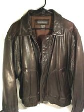 Mens Banana Republic Dark Brown Heavy Leather Zip Bomber Style Jacket Size 44