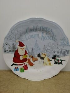 Pier 1 Imports Melamine Cold Noses Warm Hearts Christmas Plate Scalloped Edge.