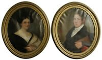 Pair 18th Century Colonial Oil Paintings Husband Wife American Oval Portrait 35""