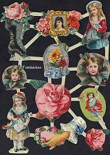 # GLANZBILDER # Bogen aus Holland 16, Blumen & Kinder, schöne nostalgische Motiv