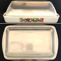 "GlasBake Vegetable Medley Chicken Roaster 3 Quart Dish 15"" x 9"" x 5.5"" USA J2026"