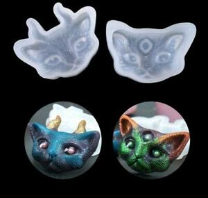 Lot of 2 Cat Head Silicone Molds for Resin ~ Free Gift w/purchase ~ USA seller