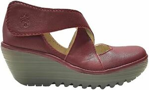 Fly london Yogo Red Womens Leather Cross Bar Wedge Shoes