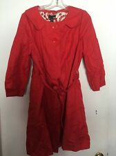 H&M Red Light Coat Cropped Sleeve Vintage Style Size 12 Cotton/Linen