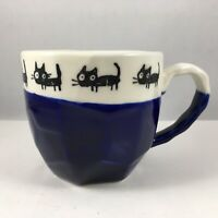 "Japanese Tea Cup Mug 3.25""H Ceramic Craft Rock Black Cats Blue Made In Japan"