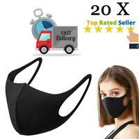 20x Face Mask Washable Black Reusable Masks Protection Shield Cover Black Adult