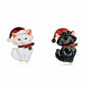 Fashion Men Women Christmas Lovely Cat Crystal Enamel Crystal Charm Brooch Pin