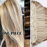 Highlight THICK One Piece 100% Remy Human Hair Extensions Clip in 3/4 Full Head