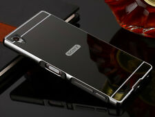 Black Luxury Aluminum Metal Frame Case Mirror Back Cover For Sony Xperia Z3 S001