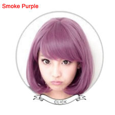 AM_  Straight Blue New Bob Anime Short Women Wig Cosplay Costume Heat Full Hair
