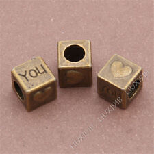 10pc Antique Bronze Love Heart Spacer Beads Charms Findings Accessories B305P