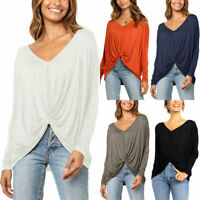 Plus Size Women's Long Sleeve Blouse Summer V Neck Solid Casual Tops Bat T-shirt