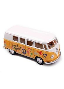 """5"""" Kinsmart 1962 Volkswagen Classical Bus w/Decal 1:32 Diecast Love Peace Yellow"""