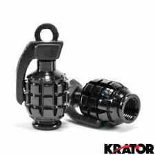 Motorcycle Black Hand Grenade Style Tire Valve Caps Cool Unique Nade Design