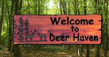Personalized Custom Carved Cedar Wood Sign - Deer Scene -Rustic- Home Decor