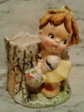 Vintage Enesco Little Girl w/ Spring Flower Basket Vase Planter Japan