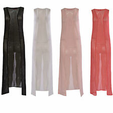 Polyester None Long Sleeveless Jumpers & Cardigans for Women
