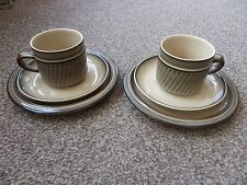 Denby Cup, Saucer & Side Plate Trio, Set of 2.