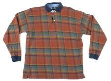 "Vtg 90s Structure Men Medium 44"" Chest Plaid Rugby Polo Shirt Long Sleeve Skate"