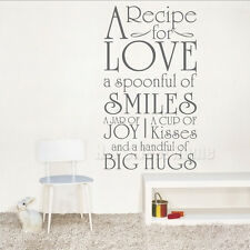 A Recipe for Love Kitchen Vinyl Wall Sticker Decal Quote Word Removable Art Home