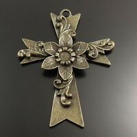 31961 Antique Style Bronze Tone Alloy Cross Shape Pendant Jewelry Findings 4pcs
