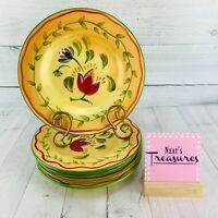Pfaltzgraff NAPOLI Hand Painted Stoneware Colorful Salad Lunch Plates Set Five