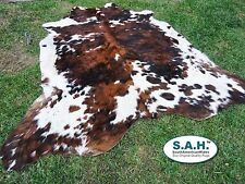 NEW LARGE Cowhide Rug Tricolor Cowskin Cow Hide Leather Carpet $145  6x7 feet