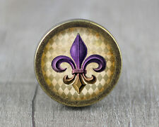 Handmade FLEUR DE LIS Glass Cabochon Bronze cabinet Dresser Knobs