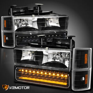 Fits Black 94-98 Chevy Silverado C10 Tahoe Suburban Headlights+LED Bumper+Corner