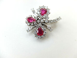 Brooch with Diamonds From Approx. 1,20 CT + Ruby IN 750 White Gold
