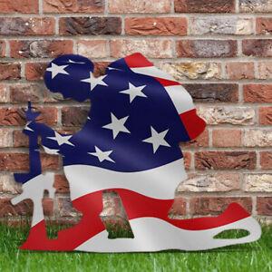 American Flag Kneeling Soldier Weathered Flag Metal Art Garden Yard Decor